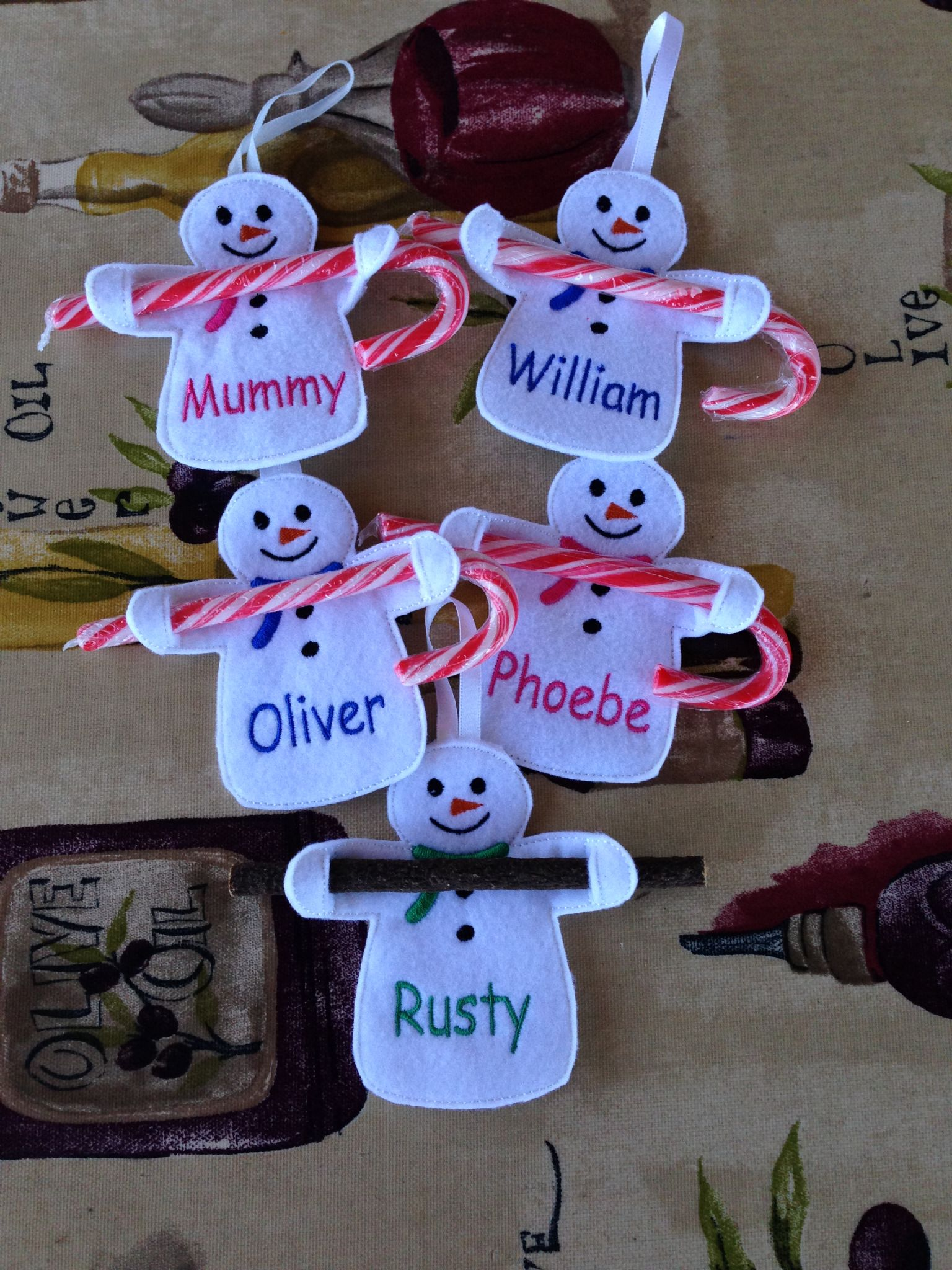 Personalised Snowperson Candy Cane Holder